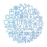 Medicine Line Icon Circle Design