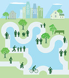 People in a park, icon, illustration