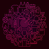 Sport Line Icon Circle Concept
