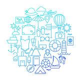 Summer Line Icon Circle Design