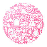 Wedding Line Icon Circle Design