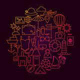 Travel Line Icon Circle Design