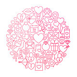 Valentine Day Line Icon Circle Design