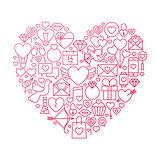Valentine Day Line Icon Heart Design