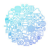 Virtual Reality Line Icon Circle Design