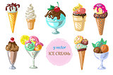 Collection of 9 vector ice cream illustrations isolated on white