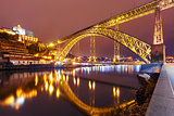 Dom Luis I bridge in Porto at night, Portugal.