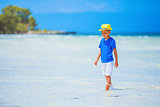 Boy in hat, sea beach