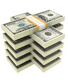 bundle of dollars on a white background