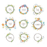 Rustic hand drawn flower elements set. Vector floral doodles, branches, flowers, laurels and frames.
