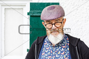 an old man and his glasses