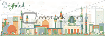 Abstract Baghdad Skyline with Color Buildings.