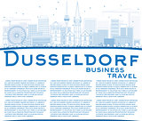 Outline Dusseldorf Skyline with Blue Buildings and Copy Space.