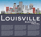 Louisville Skyline with Gray Buildings, Blue Sky and Copy Space.