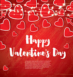 Valentine's Day Card with Red Hearts and Neon Garlands.