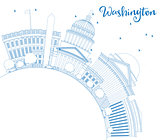 Outline Washington DC Skyline with Blue Buildings and Copy Space