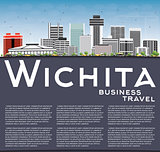 Wichita Skyline with Gray Buildings, Blue Sky and Copy Space.