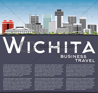 Wichita Skyline with Gray Buildings, Blue Sky and Copy Space.
