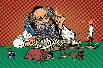 Old Jew with coins