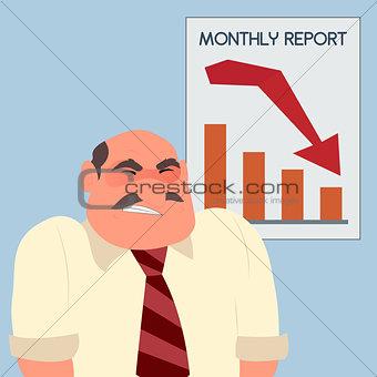 Angry furious businessman crisis arrow down graph