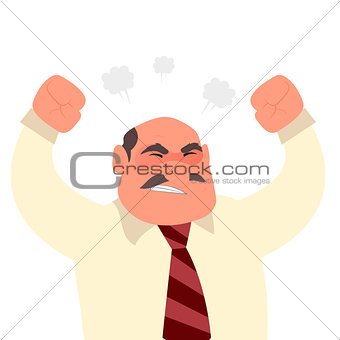 Angry screaming office worker man character