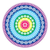 Folk round pattern, hippie colorful mandala, boho style ornament