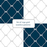 Set of nautical rope seamless fishnet patterns