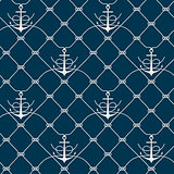 Nautical rope seamless fishnet and anchors pattern
