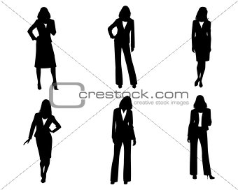 Six businesswomen silhouette