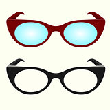 Oval hipster glasses, black and white, colorful
