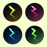 Set of lightning icons in different colors