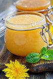 Flower honey in glass jar.