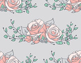 Seamless Pattern with Drawn Flowers, Roses with Branches