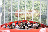 Students hanging out in university mezzanine social area