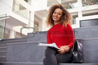 Portrait Of Female University Student In Campus Building