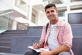Portrait Of Male University Student In Campus Building