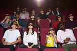 Audience In Cinema Wearing 3D Glasses Watching Film