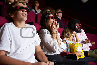 Audience In Cinema Wearing 3D Glasses Watching Horror Film