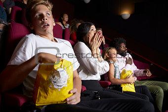 Audience In Cinema Watching Horror Film