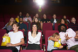 Audience In Cinema Watching Horror Film