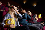 Couple In Cinema Wearing 3D Glasses Watching Horror Film