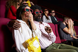 Couple In Cinema Wearing 3D Glasses Watching Comedy Film
