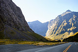 Road Through Mountains Near Milford Sound In New Zealand