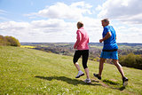 Rear View Of Mature Couple Jogging In Countryside