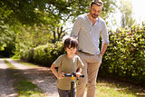 Father And Son Going For Walk In Summer Countryside