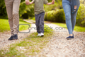 Close Up Of Family Going For Walk In Summer Countryside