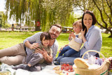 Family Enjoying Riverside Picnic Together