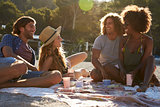 Four friends having a picnic on the beach, lens flare, Ibiza