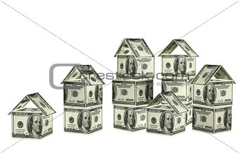 Houses from dollars banknotes
