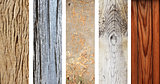 Set of wooden banners with old wood texture